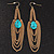 Gold Plated Turquoise Style Stone Chain Drop Earrings - 10cm Length - view 2