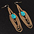 Gold Plated Turquoise Style Stone Chain Drop Earrings - 10cm Length - view 11