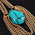 Gold Plated Turquoise Style Stone Chain Drop Earrings - 10cm Length - view 6