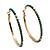 Gold Plated Turquoise Coloured Glass Bead Hoop Earrings - 6.5cm Diameter