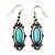 Burn Silver Turquoise Stone Drop Earring - 5cm Length