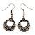 Vintage Hammered Diamante Round Drop Earrings (Burn Silver Metal & Black Crystals) - 4cm Length