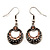 Vintage Hammered Diamante Round Drop Earrings (Burn Silver Metal & Champagne Crystals) - 4cm Length