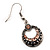 Vintage Hammered Diamante Round Drop Earrings (Burn Silver Metal & Champagne Crystals) - 4cm Length - view 2