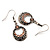 Vintage Hammered Diamante Round Drop Earrings (Burn Silver Metal & Champagne Crystals) - 4cm Length - view 6