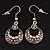 Vintage Hammered Diamante Round Drop Earrings (Burn Silver Metal & Champagne Crystals) - 4cm Length - view 3