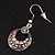 Vintage Hammered Diamante Round Drop Earrings (Burn Silver Metal & Champagne Crystals) - 4cm Length - view 5