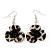 Animal Print Flower Acrylic Drop Earrings (Silver Tone Finish) -5.5cm Length