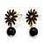 Small Black Enamel Flower Stud Earrings (Gold Plated Finish) - 2.5cm Length - view 4