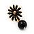Small Black Enamel Flower Stud Earrings (Gold Plated Finish) - 2.5cm Length - view 5
