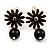 Small Black Enamel Flower Stud Earrings (Gold Plated Finish) - 2.5cm Length - view 2