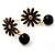 Small Black Enamel Flower Stud Earrings (Gold Plated Finish) - 2.5cm Length - view 3