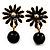 Small Black Enamel Flower Stud Earrings (Gold Plated Finish) - 2.5cm Length