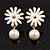 Small White Enamel Flower Stud Earrings (Gold Plated Finish) - 2.5cm Length