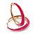 Fuchsia Hoop Earrings (Gold Tone Metal) - 5cm Diameter
