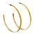 Yellow Enamel Thin Hoop Earrings (Gold Plated Metal) - 6cm Diameter