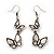 Antique Silver Metal Double Butterfly Drop Earrings - 5.5cm Length