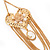 Long Chain 'Cameo' Heart Drop Earrings (Gold Plated Metal) - 13cm Length - view 3