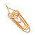 Long Chain 'Cameo' Heart Drop Earrings (Gold Plated Metal) - 13cm Length - view 4