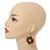 Multicoloured Wood Bead Hoop Drop Earrings (Silver Tone Metal) - 65mm Long - view 2