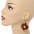 Multicoloured Wood Bead Hoop Drop Earrings (Silver Tone Metal) - 65mm Long - view 3