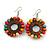 Multicoloured Wood Bead Hoop Drop Earrings (Silver Tone Metal) - 65mm Long - view 4