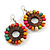 Multicoloured Wood Bead Hoop Drop Earrings (Silver Tone Metal) - 65mm Long