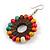 Multicoloured Wood Bead Hoop Drop Earrings (Silver Tone Metal) - 65mm Long - view 5