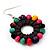 Multicoloured Wood Bead Hoop Drop Earrings (Silver Tone Metal) - 65mm Long - view 6