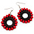 Red Wood Bead Hoop Drop Earrings (Silver Tone Metal) - 5.5cm Drop
