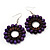 Purple Wood Bead Hoop Drop Earrings (Silver Tone Metal) - 5.5cm Drop - view 2