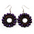 Purple Wood Bead Hoop Drop Earrings (Silver Tone Metal) - 5.5cm Drop