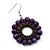 Purple Wood Bead Hoop Drop Earrings (Silver Tone Metal) - 5.5cm Drop - view 3