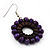 Purple Wood Bead Hoop Drop Earrings (Silver Tone Metal) - 5.5cm Drop - view 4