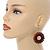 Brown Wood Bead Hoop Drop Earrings (Silver Tone Metal) - 65mm Drop - view 3
