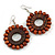 Brown Wood Bead Hoop Drop Earrings (Silver Tone Metal) - 65mm Drop