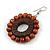 Brown Wood Bead Hoop Drop Earrings (Silver Tone Metal) - 65mm Drop - view 4
