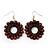 Brown Wood Bead Hoop Drop Earrings (Silver Tone Metal) - 65mm Drop - view 6