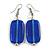 Navy Blue Square Glass Drop Earrings - 6cm Long