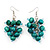 Wood Teal Cluster Drop Earrings (Silver Tone Metal) - 6.5cm Length