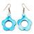 Light Blue Open Flower Shell Drop Earrings (Silver Metal Finish) - 5.5cm Drop