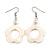 White Open Flower Shell Drop Earrings (Silver Metal Finish) - 5.5cm Drop