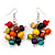 Wood Multicoloured Cluster Drop Earrings (Silver Tone Metal) - 50mm Length