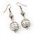 Silver Tone White Faux Pearl Drop Earrings - 5.5cm Drop - view 2