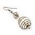 Silver Tone White Faux Pearl Drop Earrings - 5.5cm Drop - view 4