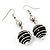 Silver Tone Black Faux Pearl Drop Earrings - 5.5cm Drop - view 2