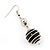 Silver Tone Black Faux Pearl Drop Earrings - 5.5cm Drop - view 3