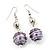 Silver Tone Purple Faux Pearl Drop Earrings - 5.5cm Drop - view 2