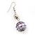 Silver Tone Purple Faux Pearl Drop Earrings - 5.5cm Drop - view 3