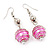 Silver Tone Fuchsia Pink Faux Pearl Drop Earrings - 5cm Drop - view 2